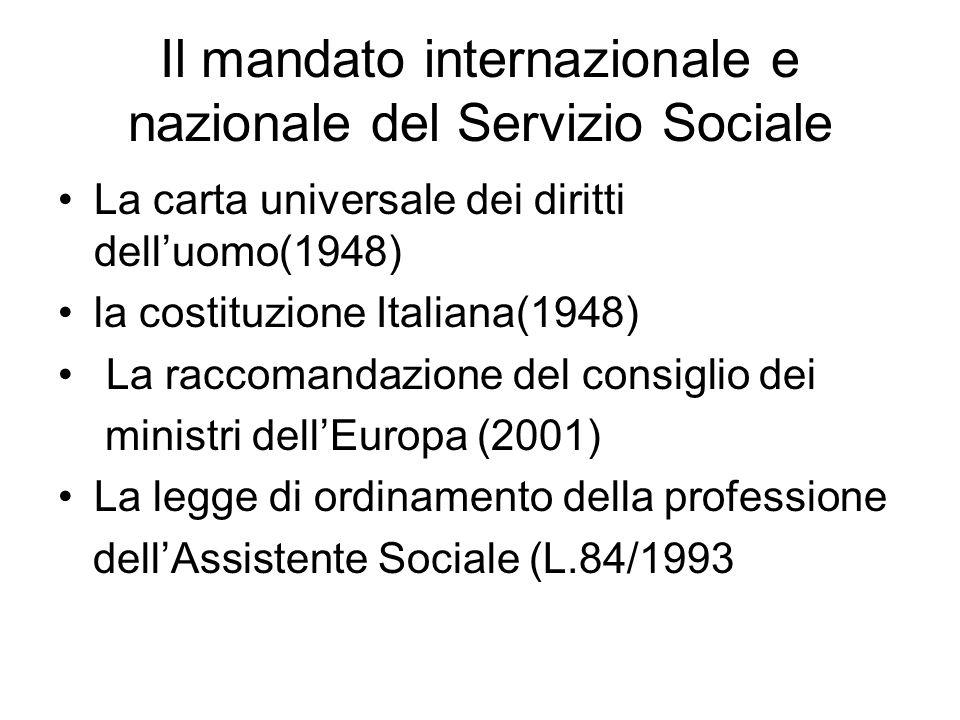 Il mandato internazionale e nazionale del Servizio Sociale
