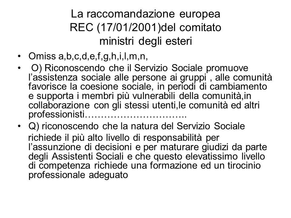 La raccomandazione europea REC (17/01/2001)del comitato ministri degli esteri