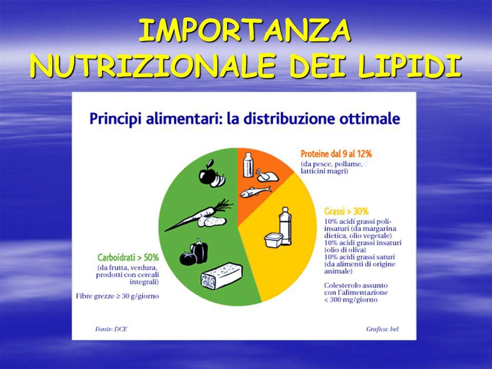 IMPORTANZA NUTRIZIONALE DEI LIPIDI