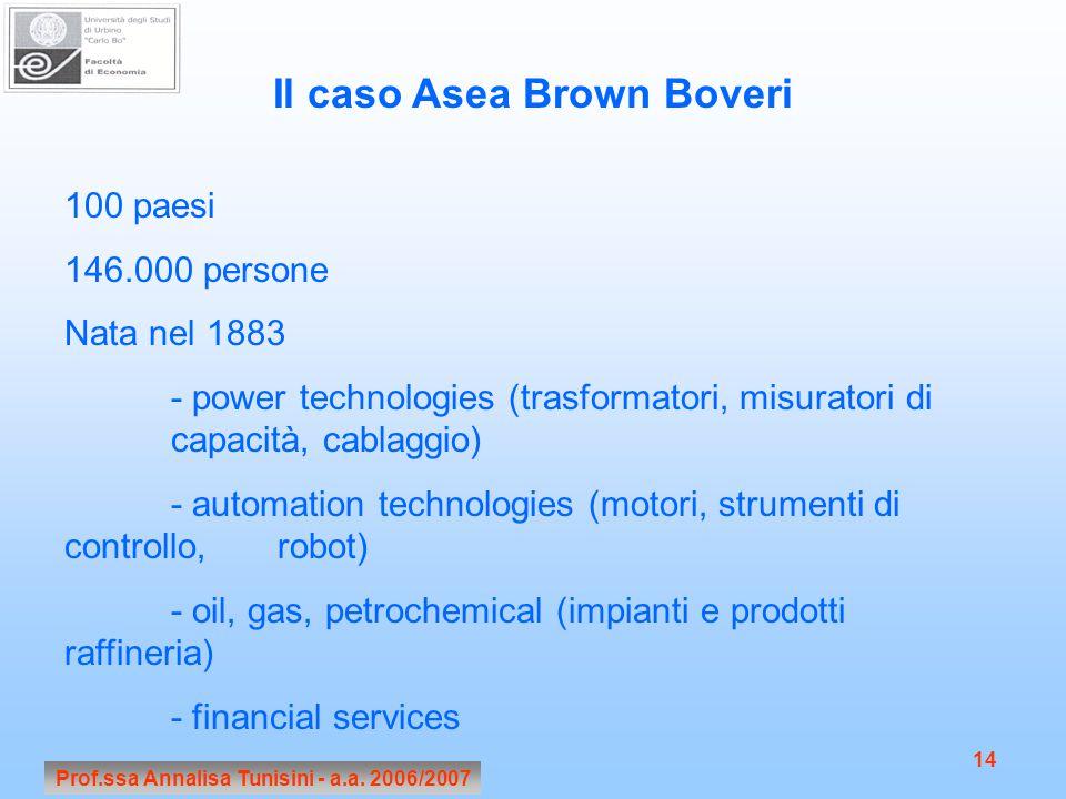 Il caso Asea Brown Boveri Prof.ssa Annalisa Tunisini - a.a. 2006/2007