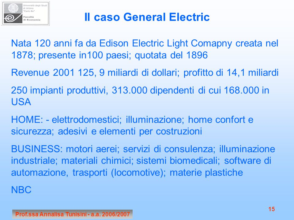 Il caso General Electric Prof.ssa Annalisa Tunisini - a.a. 2006/2007