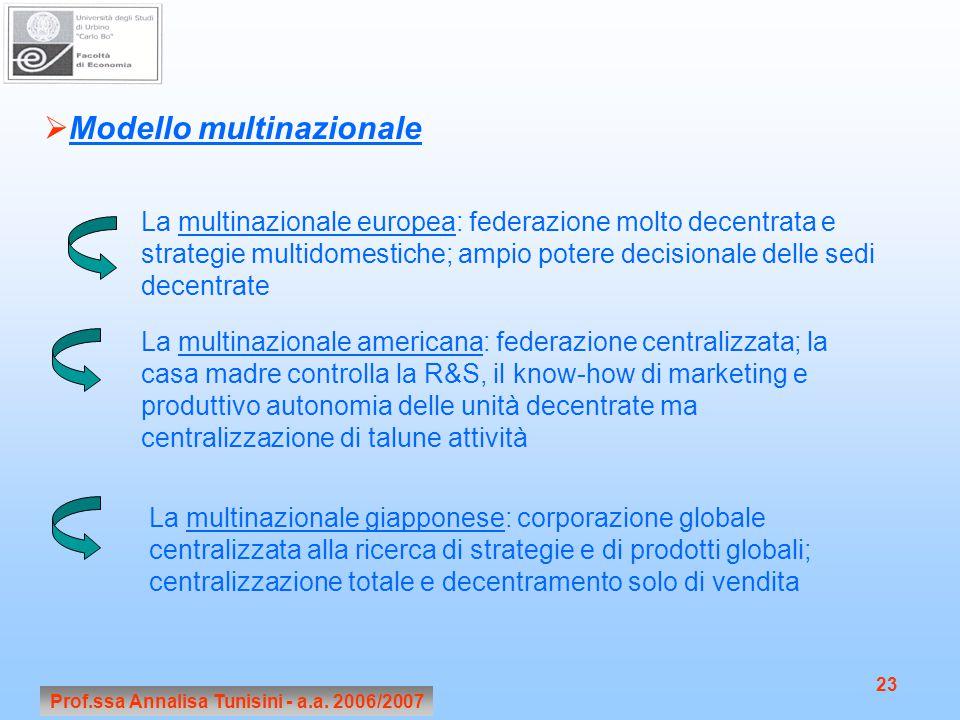 Prof.ssa Annalisa Tunisini - a.a. 2006/2007