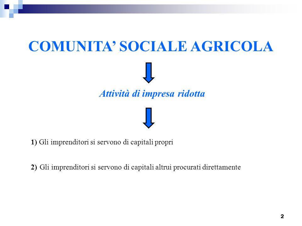 COMUNITA' SOCIALE AGRICOLA Attività di impresa ridotta