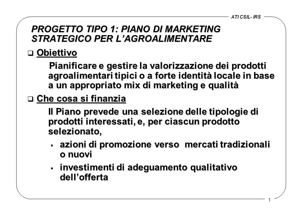PROGETTO TIPO 1: PIANO DI MARKETING STRATEGICO PER L'AGROALIMENTARE