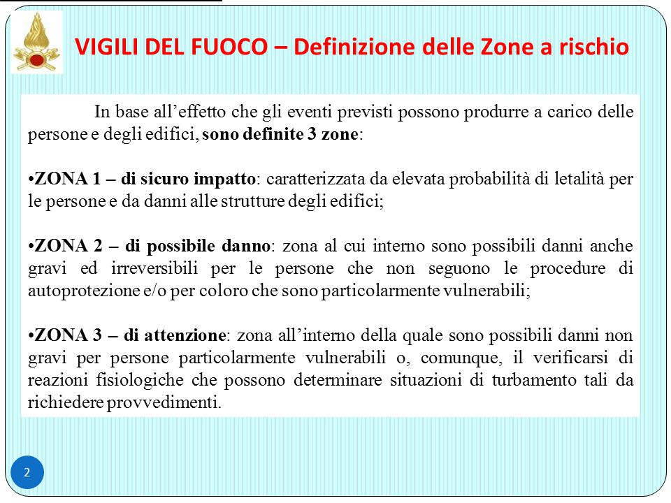 VIGILI DEL FUOCO – Definizione delle Zone a rischio