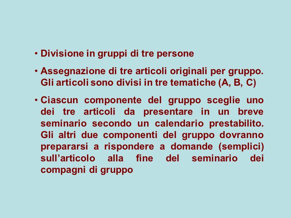 Divisione in gruppi di tre persone