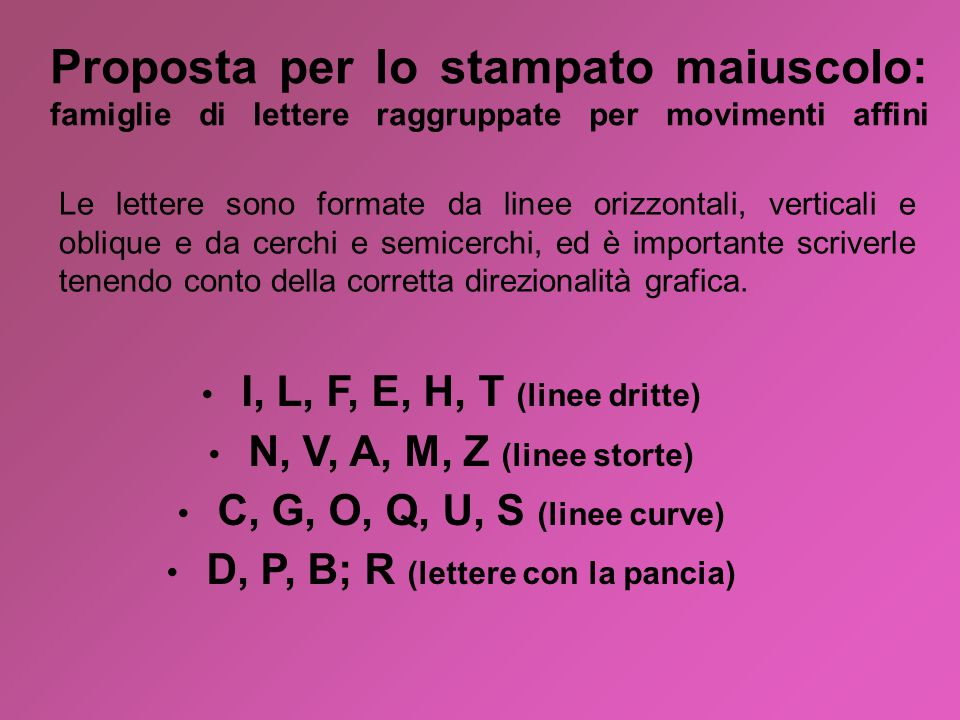 D, P, B; R (lettere con la pancia)