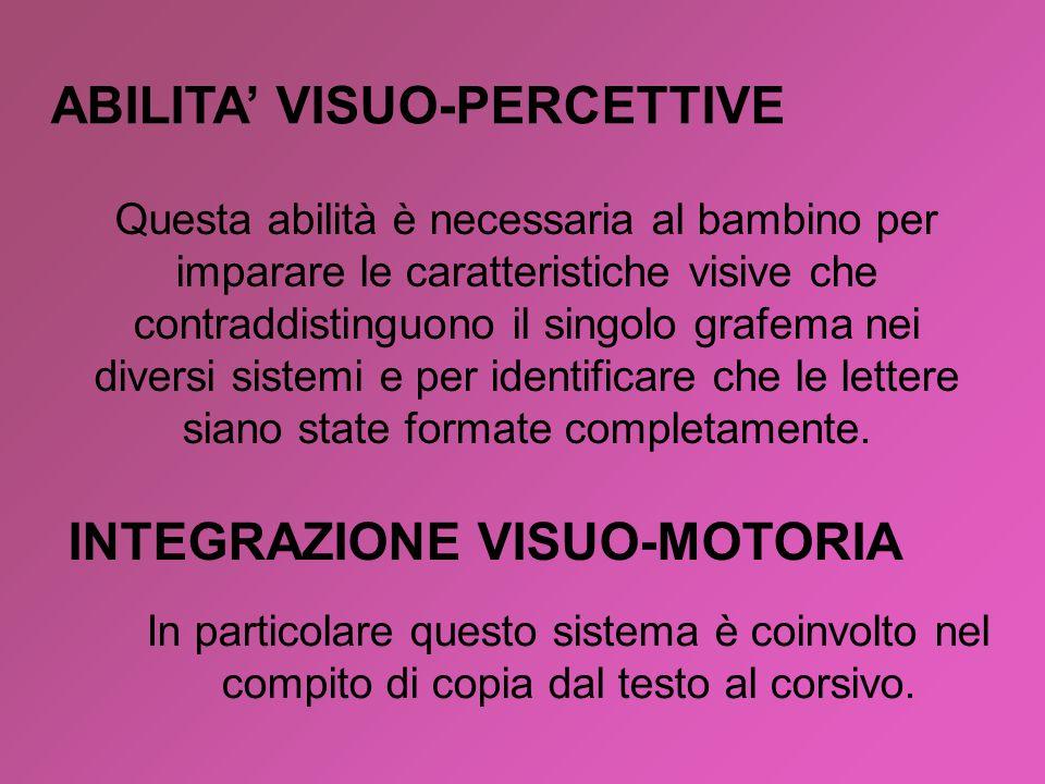 ABILITA' VISUO-PERCETTIVE