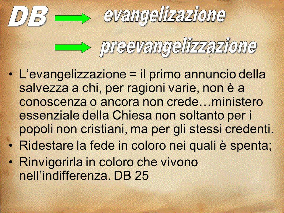 DB evangelizazione preevangelizzazione
