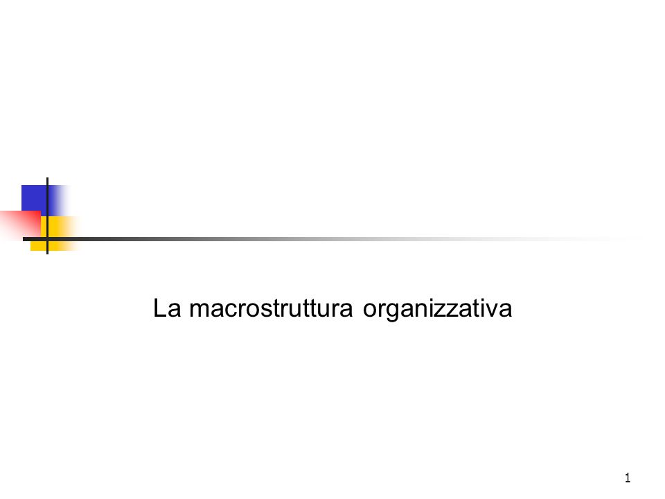 La macrostruttura organizzativa