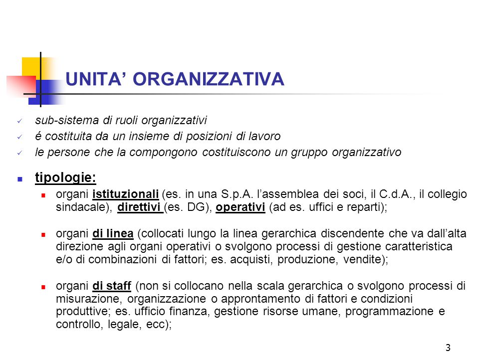 UNITA' ORGANIZZATIVA tipologie: sub-sistema di ruoli organizzativi
