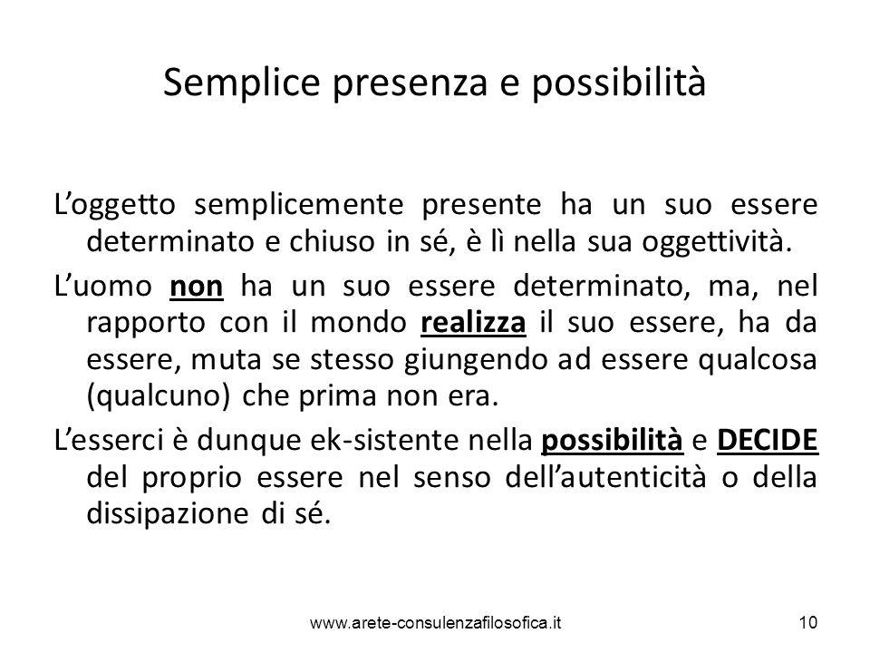 Semplice presenza e possibilità