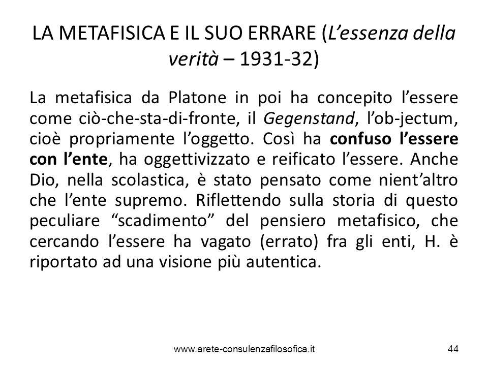 LA METAFISICA E IL SUO ERRARE (L'essenza della verità – 1931-32)