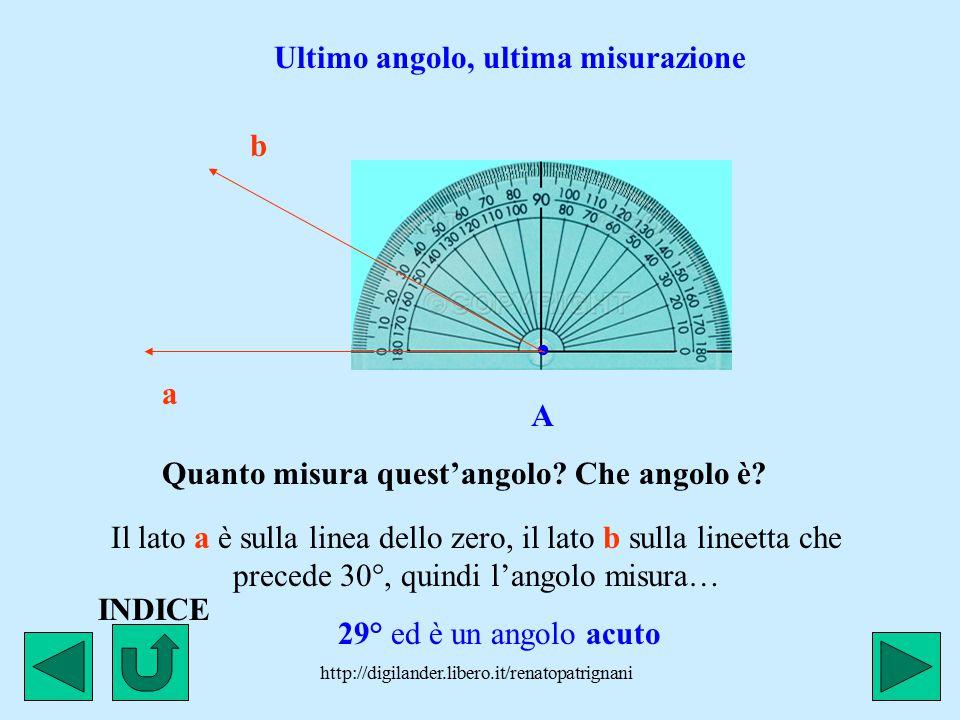 . Ultimo angolo, ultima misurazione b A a
