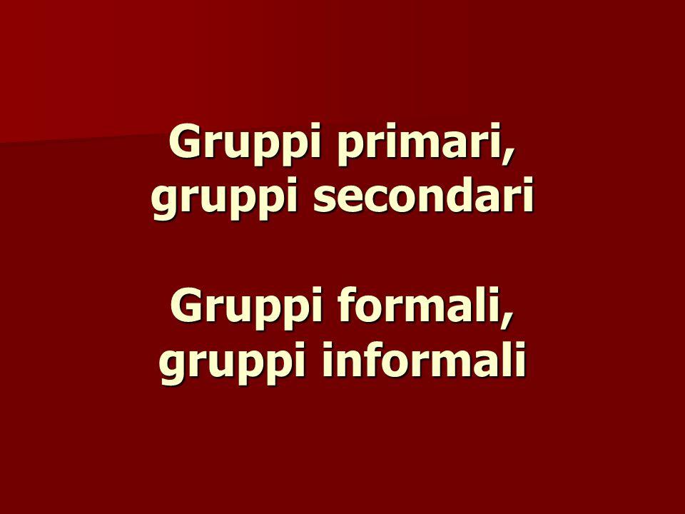 Gruppi primari, gruppi secondari Gruppi formali, gruppi informali