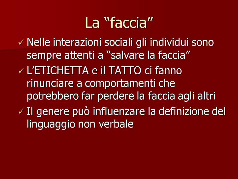 La faccia Nelle interazioni sociali gli individui sono sempre attenti a salvare la faccia