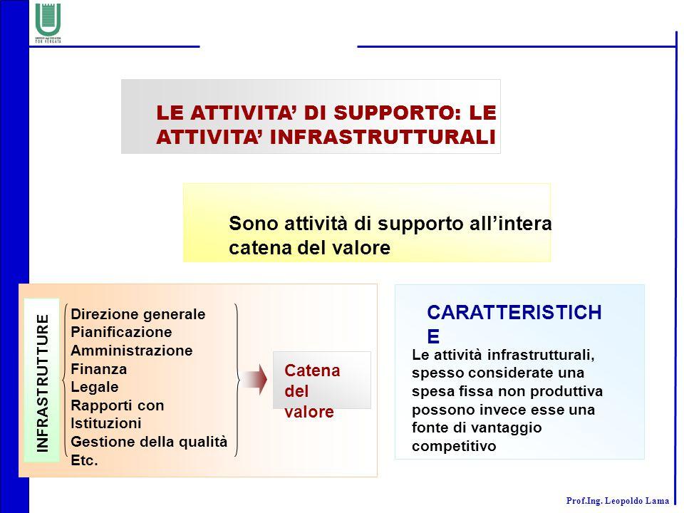 LE ATTIVITA' DI SUPPORTO: LE ATTIVITA' INFRASTRUTTURALI