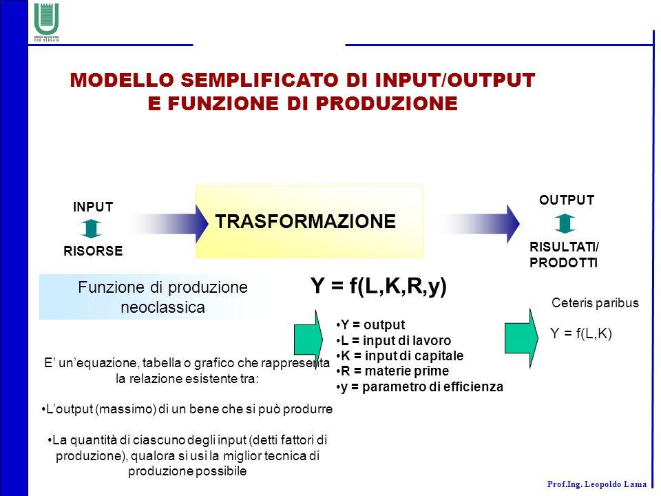 MODELLO SEMPLIFICATO DI INPUT/OUTPUT E FUNZIONE DI PRODUZIONE