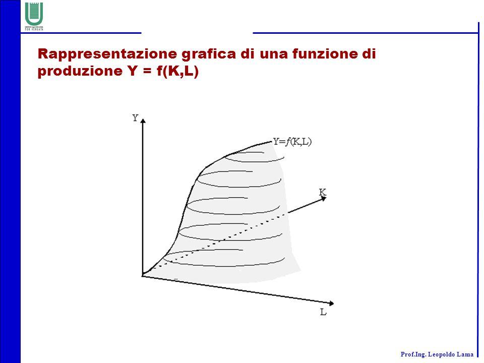 Rappresentazione grafica di una funzione di produzione Y = f(K,L)