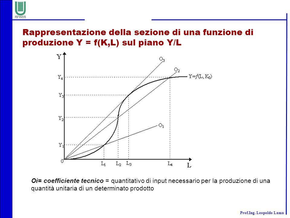 Rappresentazione della sezione di una funzione di produzione Y = f(K,L) sul piano Y/L