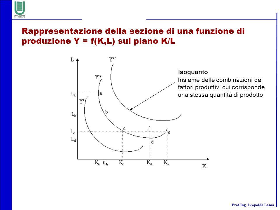 Rappresentazione della sezione di una funzione di produzione Y = f(K,L) sul piano K/L