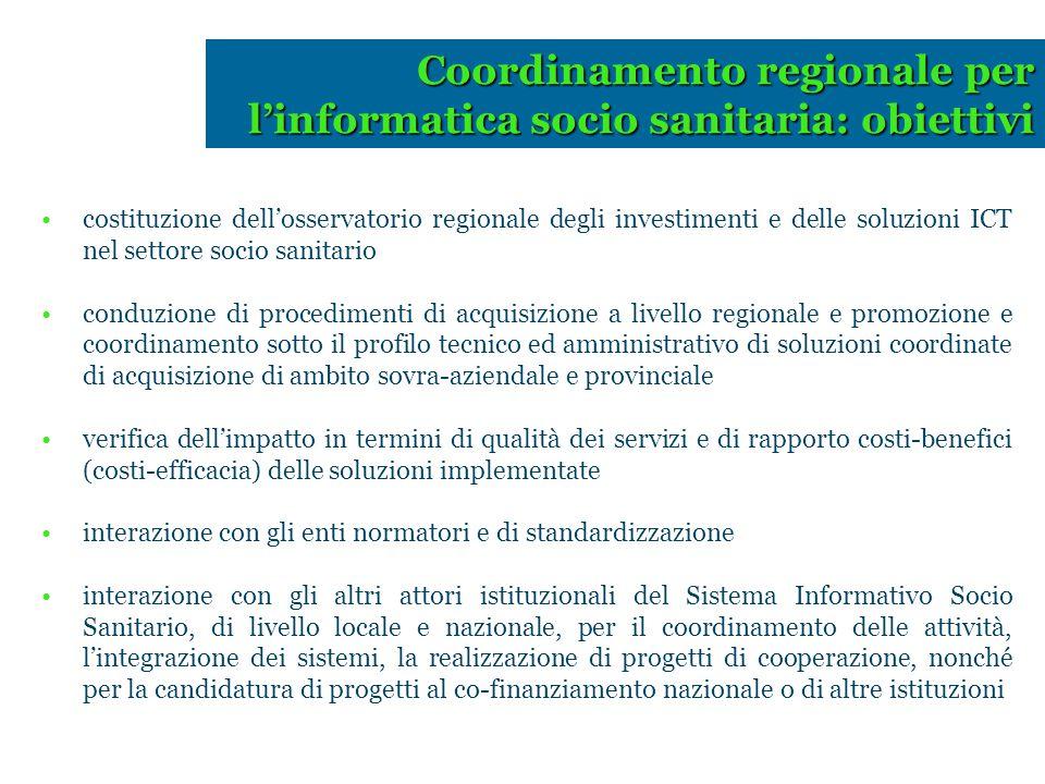 Coordinamento regionale per l'informatica socio sanitaria: obiettivi