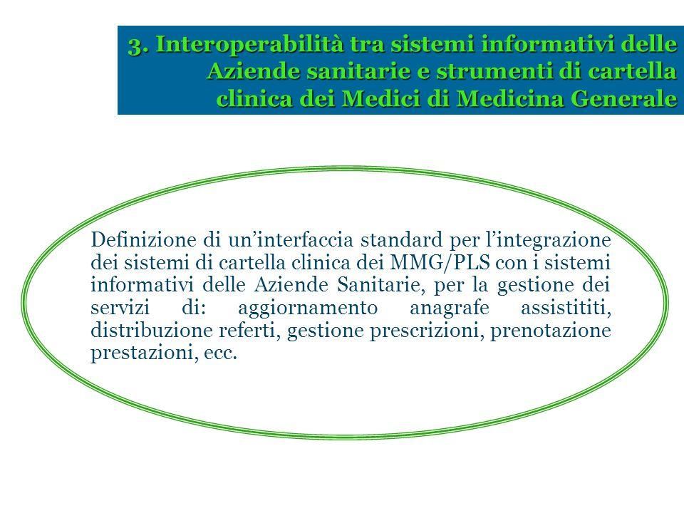 3. Interoperabilità tra sistemi informativi delle Aziende sanitarie e strumenti di cartella clinica dei Medici di Medicina Generale