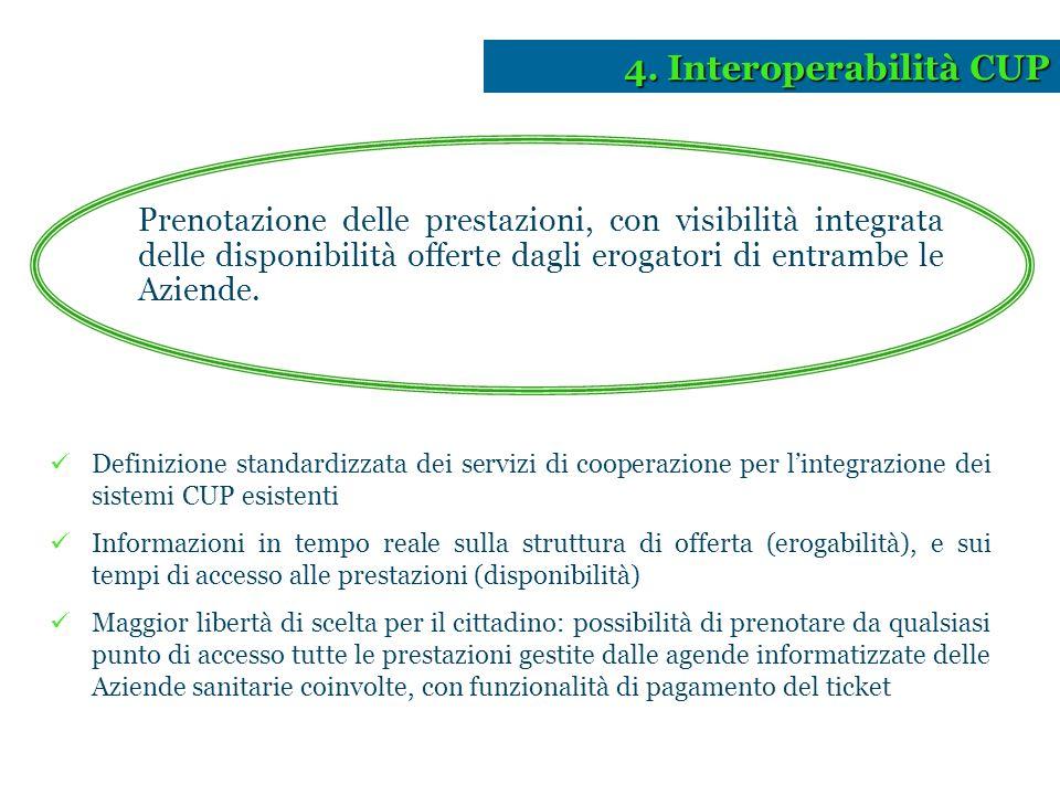 4. Interoperabilità CUP Prenotazione delle prestazioni, con visibilità integrata delle disponibilità offerte dagli erogatori di entrambe le Aziende.