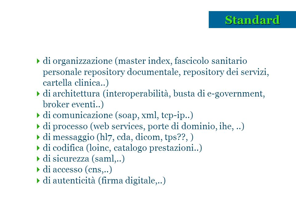 Standard di organizzazione (master index, fascicolo sanitario personale repository documentale, repository dei servizi, cartella clinica..)