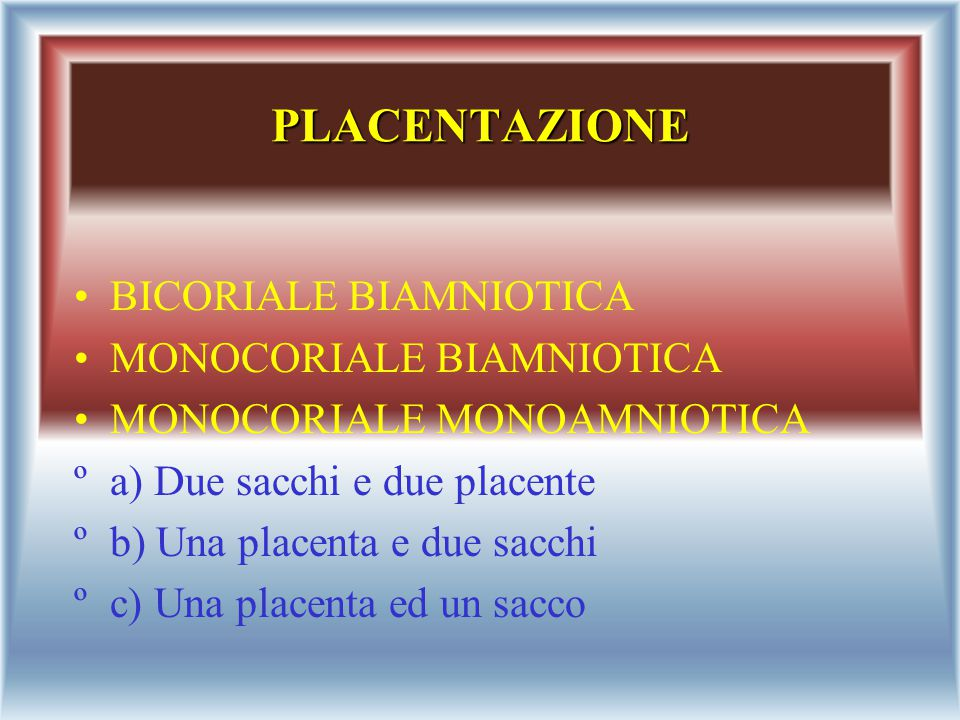 PLACENTAZIONE BICORIALE BIAMNIOTICA MONOCORIALE BIAMNIOTICA
