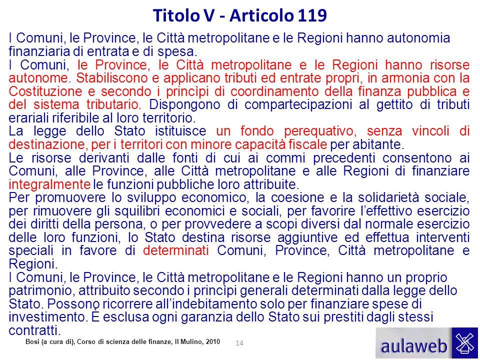 Titolo V - Articolo 119 I Comuni, le Province, le Città metropolitane e le Regioni hanno autonomia finanziaria di entrata e di spesa.