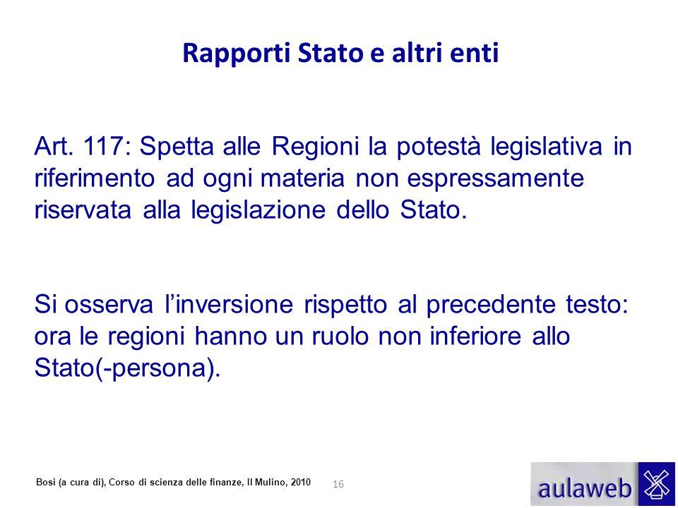 Rapporti Stato e altri enti