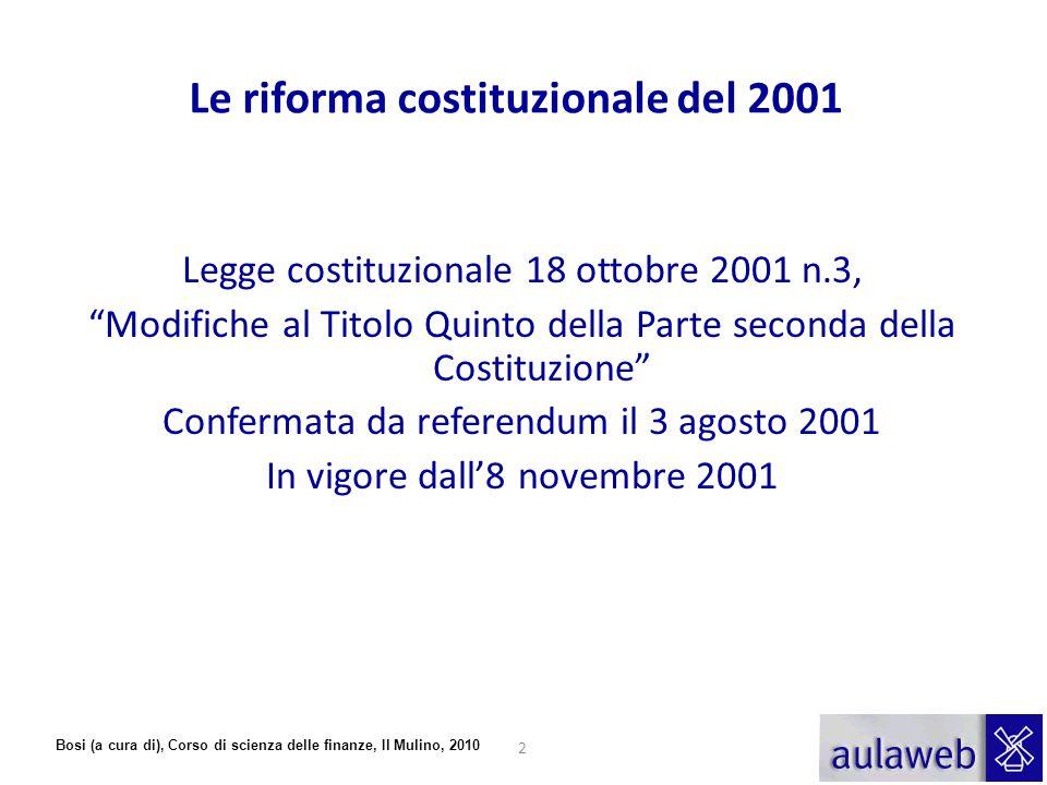 Le riforma costituzionale del 2001