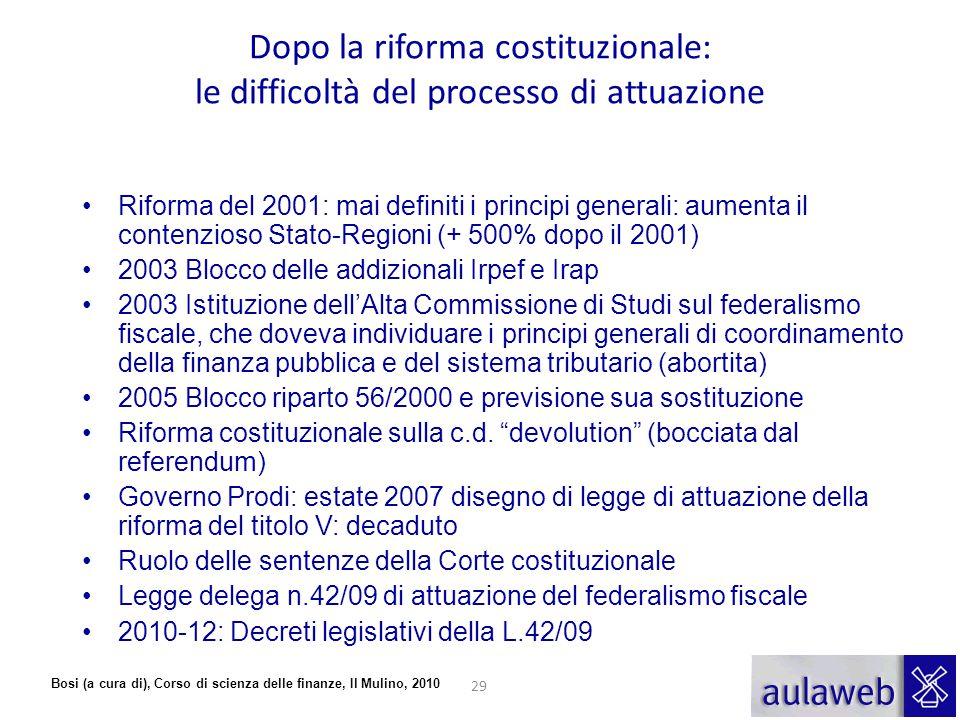 Dopo la riforma costituzionale: le difficoltà del processo di attuazione