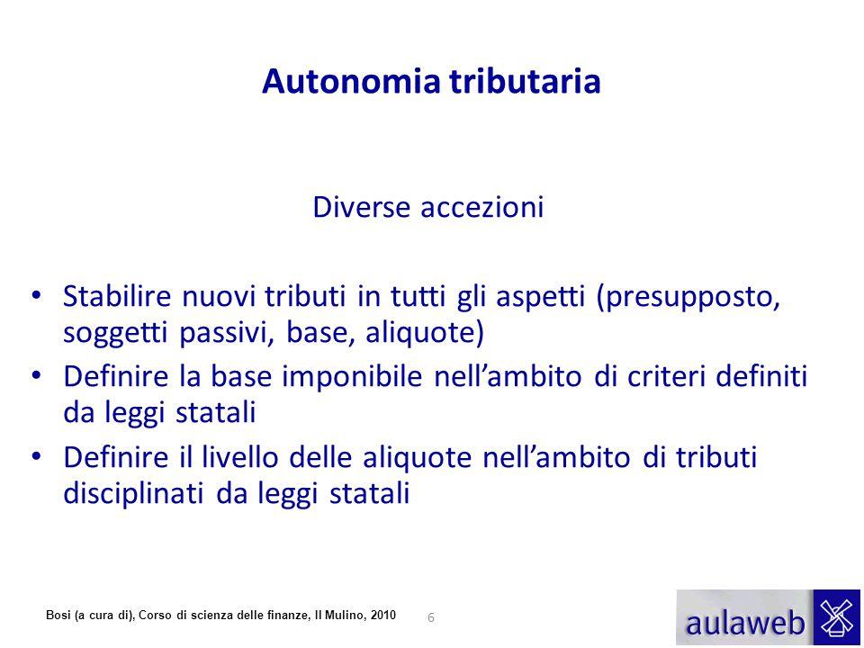Autonomia tributaria Diverse accezioni