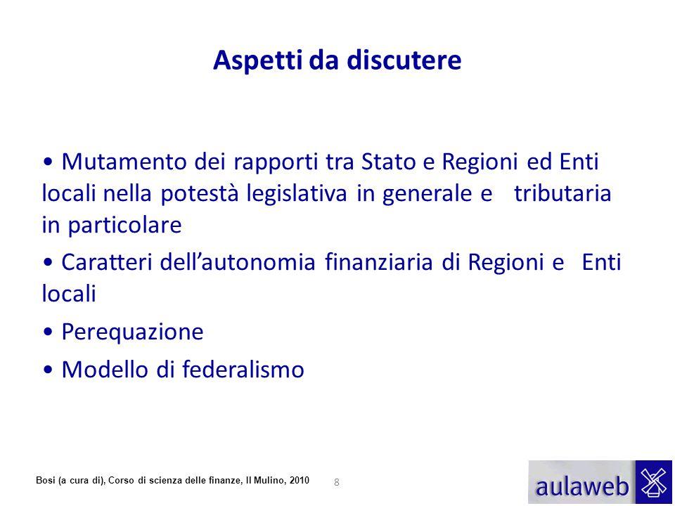 Aspetti da discutere Mutamento dei rapporti tra Stato e Regioni ed Enti locali nella potestà legislativa in generale e tributaria in particolare.