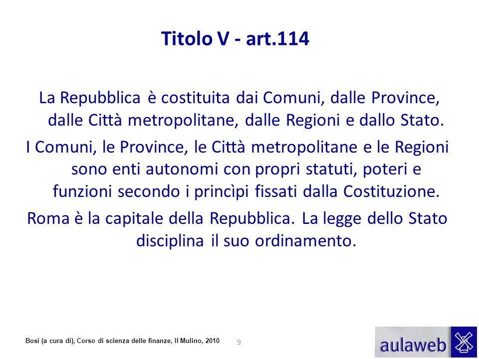 Titolo V - art.114 La Repubblica è costituita dai Comuni, dalle Province, dalle Città metropolitane, dalle Regioni e dallo Stato.