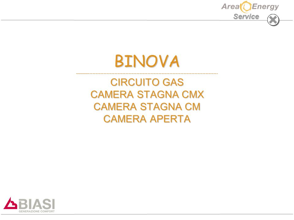 BINOVA -------------------------------------------------------------------------------------------------------- CIRCUITO GAS CAMERA STAGNA CMX CAMERA STAGNA CM CAMERA APERTA