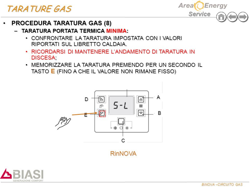 TARATURE GAS PROCEDURA TARATURA GAS (8) RinNOVA