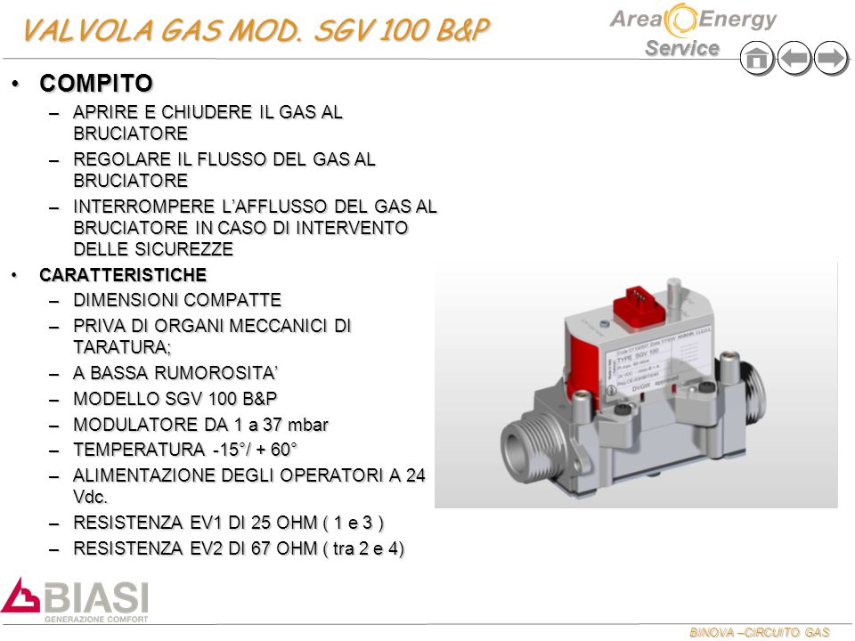 VALVOLA GAS MOD. SGV 100 B&P COMPITO