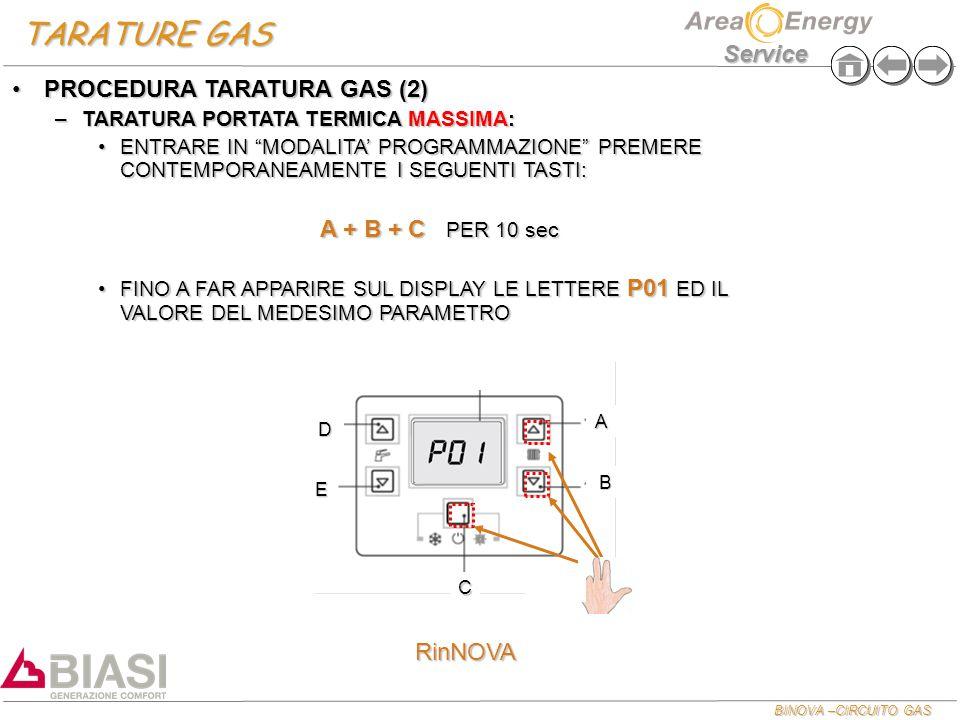TARATURE GAS PROCEDURA TARATURA GAS (2) A + B + C PER 10 sec RinNOVA