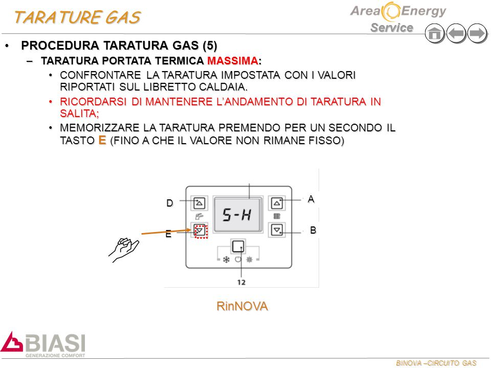 TARATURE GAS PROCEDURA TARATURA GAS (5) RinNOVA