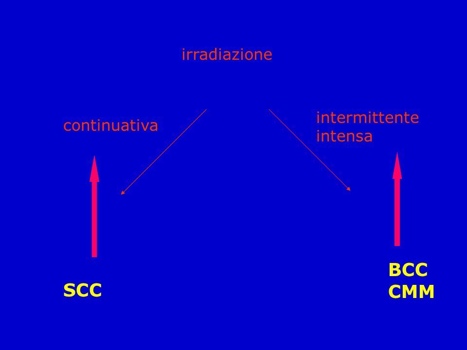 irradiazione intermittente intensa continuativa BCC CMM SCC