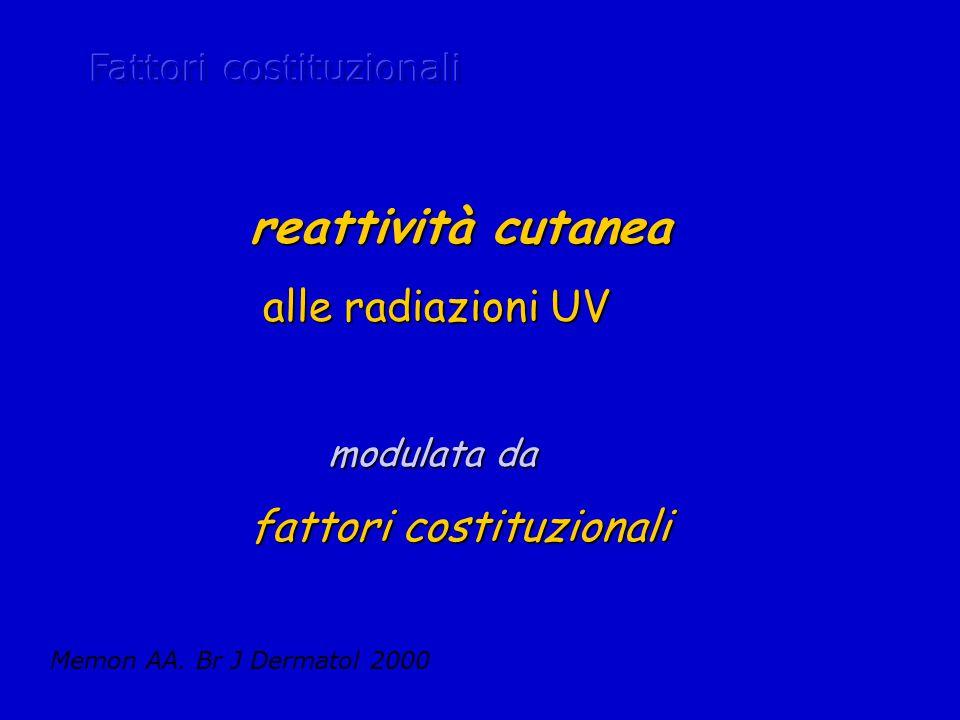 reattività cutanea alle radiazioni UV fattori costituzionali