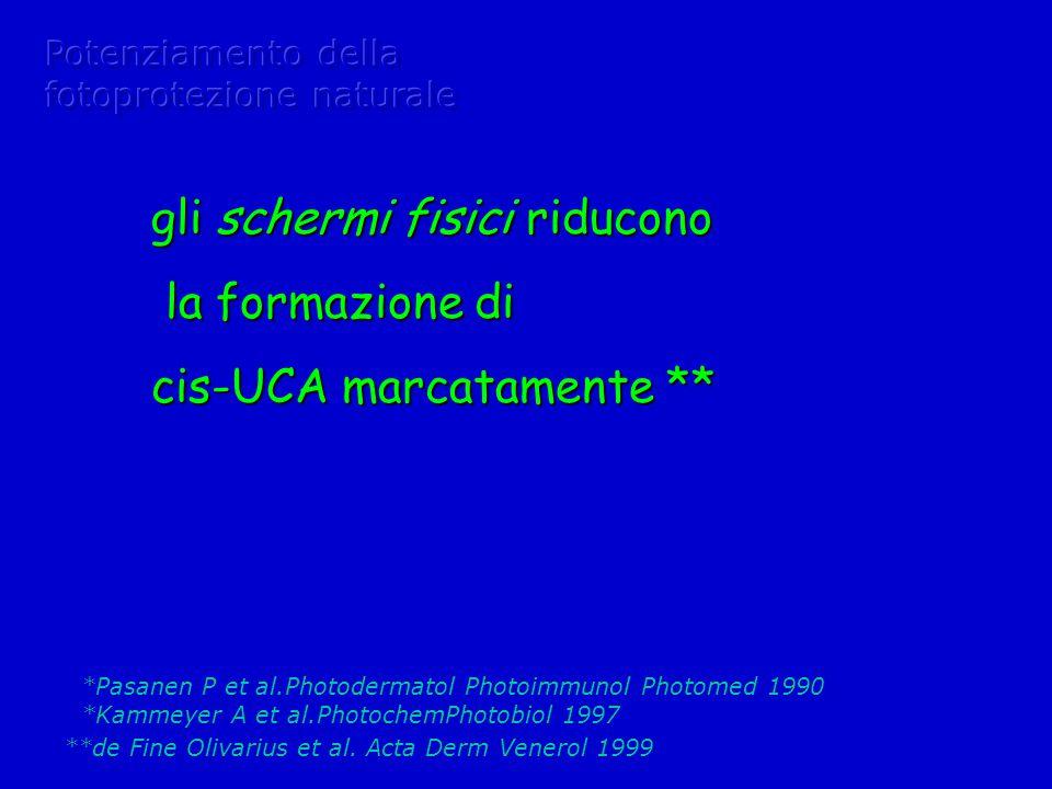gli schermi fisici riducono la formazione di cis-UCA marcatamente **