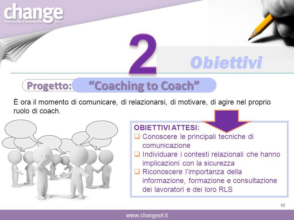 2 Obiettivi Coaching to Coach Progetto: