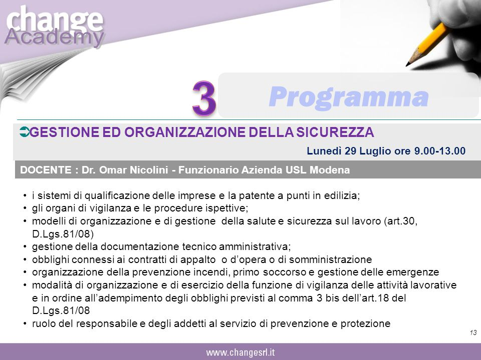 3 Programma GESTIONE ED ORGANIZZAZIONE DELLA SICUREZZA