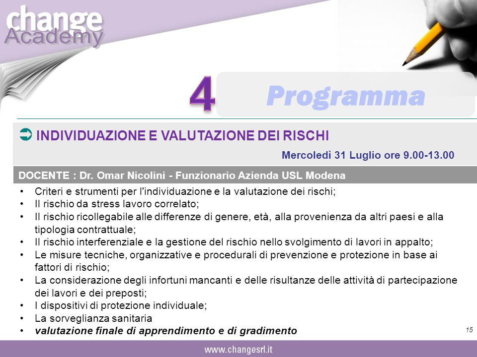 4 Programma INDIVIDUAZIONE E VALUTAZIONE DEI RISCHI