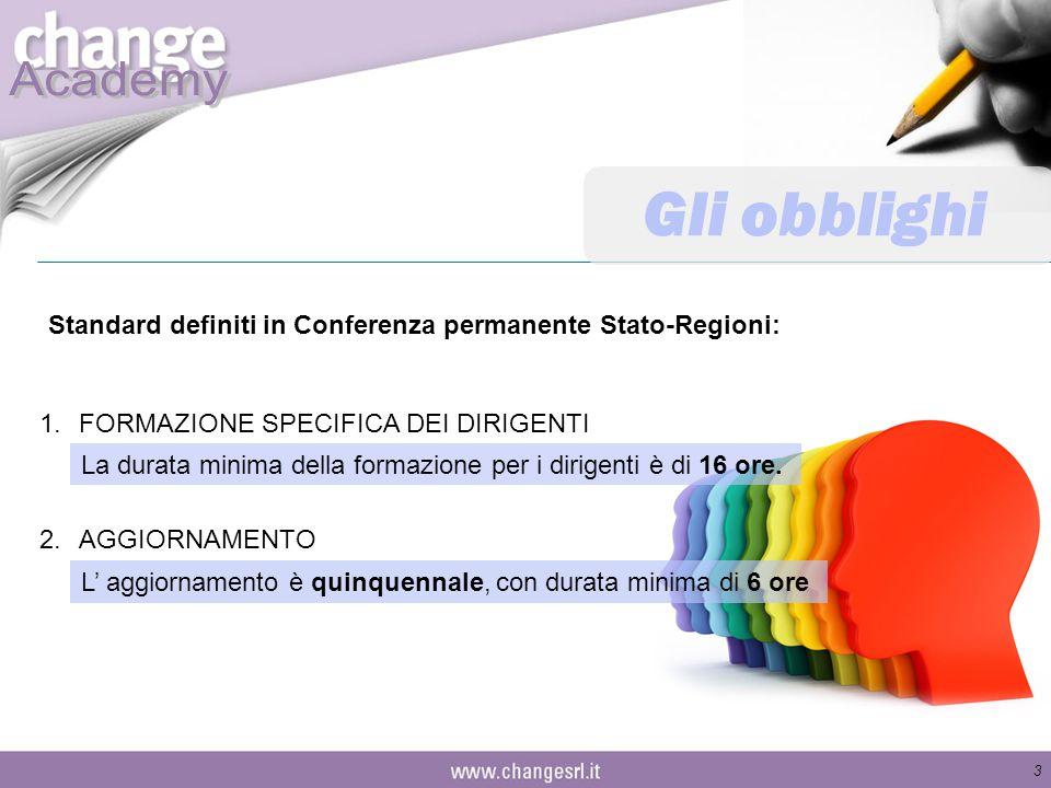 Gli obblighi Standard definiti in Conferenza permanente Stato-Regioni: