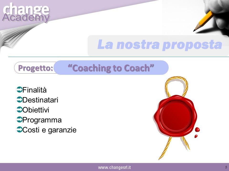 La nostra proposta Coaching to Coach Progetto: Finalità Destinatari